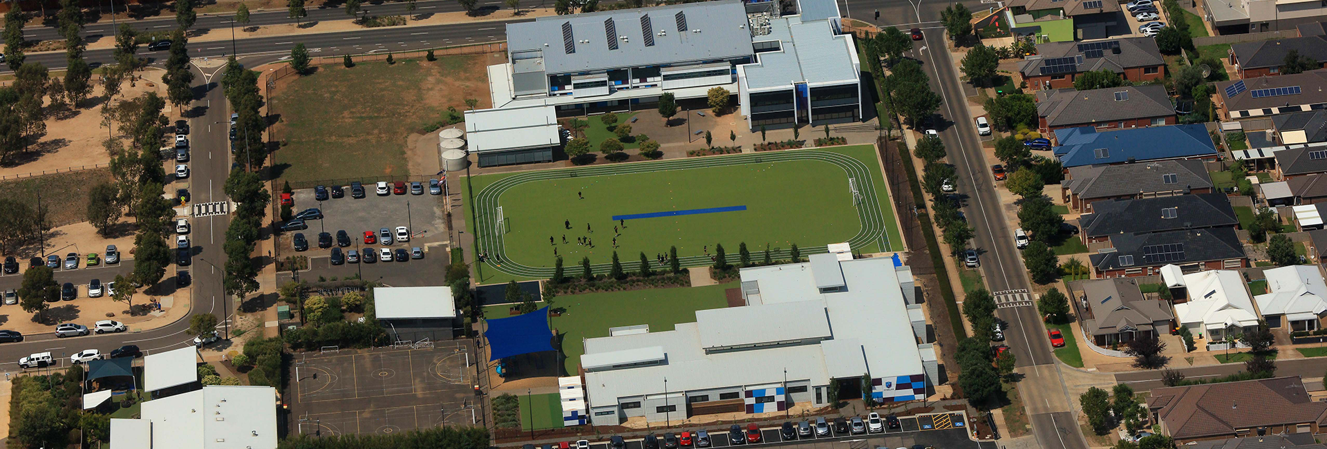 An aerial photograph of the Southern Cross Grammar grounds in Caroline Springs, Melbourne